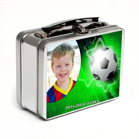 מזוודת מתכת קטנה לחנוכה לילדי הגן עיצוב כדורגל תמונה