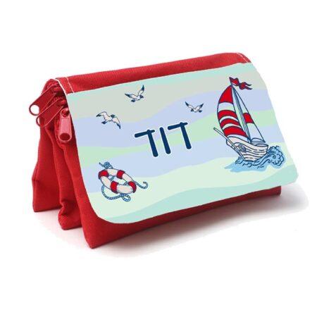 קלמר אדום 3 תאים עם שם הילד עיצוב אוניה שם
