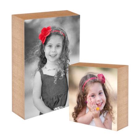 בלוק עץ עם תמונה מתנה ליום המשפחה ולסוף שנה בגן