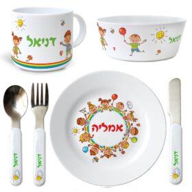 כלי אוכל מפלסטיק סט ילדים