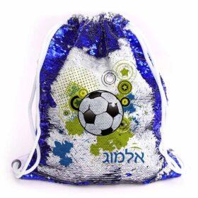 תיק שרוך עם פייטים כדורגל כחול