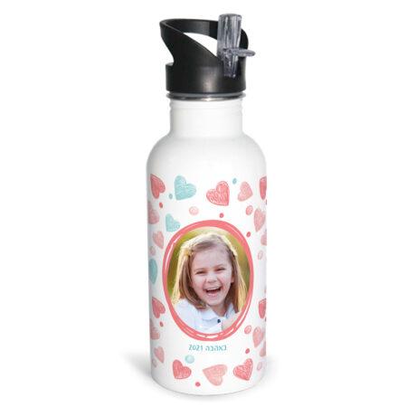 בקבוק נירוסטה לילדים עיצוב לב פסטל תמונה